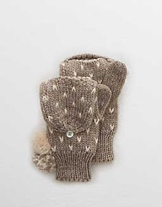 Aerie Convertible Pom Mittens  -