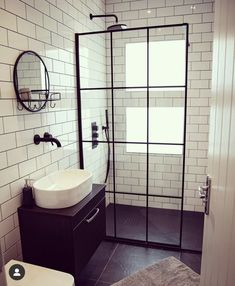 A Black Framed Shower Screen is a perfect fit for a monochrome bathroom design. Pair with white metro tiles to keep the look simple, yet chic. Small Bathroom Interior, Tiny Bathrooms, Loft Bathroom, Bathroom Design Luxury, Bathroom Layout, Modern Bathroom Design, Small Bathroom Paint, Ideas For Bathrooms, Designs For Small Bathrooms