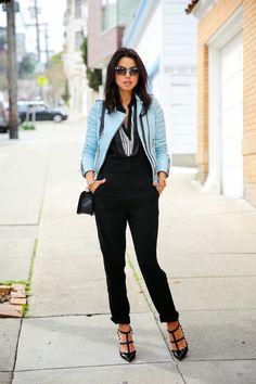 Blue leather jacket & black jumpsuit
