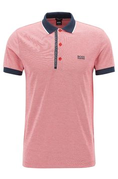 Slim-fit polo shirt in Pima-cotton Oxford piqué -  Red  Polo Shirts from BOSS for Men for $118.00 in the official HUGO BOSS Online Store free shipping