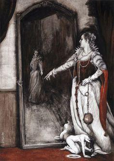 'Elizabeth Bathory by Santiago Caruso  For Alejandra Pizarnik's   'La Condesa Sangrienta'  ('The Bloody Countess') - 2009 ed.'