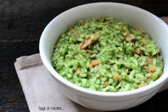 Risotto con salmone e crema di spinaci