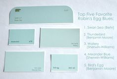 "Top 5 ""Robin's Egg"" blues: Swan Sea (Behr), Thunderbird (Benjamin Moore), Watery (Sherwin Williams), Meander Blue (Sherwin Williams), Bird's Egg (Benjamin Moore)"