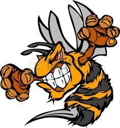 Abeja o Hornet combates mascota organismo Vector ilustración