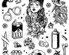 Gangster Temporary Tattoos Thug Temporary Tattoos Gang Temporary Tattoos Gang Tattoos Fake Gangster Tattoos Halloween Ideas - Top 500 Best Tattoo Ideas And Designs For Men and Women Flash Art Tattoos, Kritzelei Tattoo, Doodle Tattoo, Wrench Tattoo, Cali Tattoo, Gangster Tattoos, Gangster Drawings, Chicano Tattoos, Stencils Tatuagem