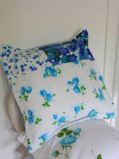 Vintage Blue Floral Fabric Hotchpotch by gillyflowerdesigns