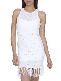Arden B. Women's Textured Geo Crochet Dress S White