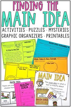 These digital & printable main idea activities are perfect for first grade and 2nd grade classrooms! Finding the main idea and details in a hands on way is always fun for small groups and guided reading! Included are puzzles, main idea mystery bags, topic sentences, worksheets, graphic organizers, anchor charts, etc! The main idea mysteries are a favorite! Use in digitally in Google Slides or Seesaw! Great for nonfiction main idea and main topic units!