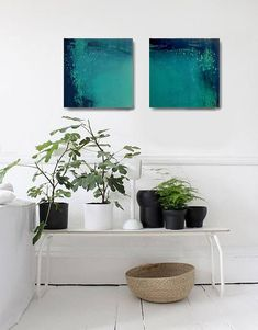 Set of 2 minimalism abstract contemporary art landscape