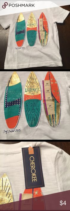 NWT 2T top New. Surf boards. Really cute. Cherokee Shirts & Tops Tees - Short Sleeve