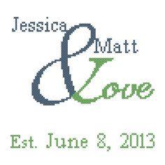 A personal favorite from my Etsy shop https://www.etsy.com/listing/119821858/modern-wedding-cross-stitch-pattern-love