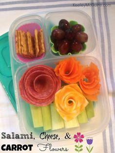 Flower Bento Lunch (Salami, cheese and carrot flowers)