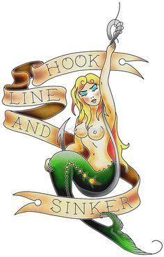 Hook, Line & Sinker mermaid tattoo by sickstrings