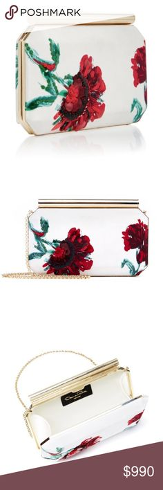 {OSCAR DE LA RENTA}  Embroidered  Flower Clutch White and red satin carnation evening clutch from Oscar de la Renta. Made in Italy Pre-loved.                                                        Composition: 100% Satin                                                                Product Width: 8.3 in Height: 5.9 in Depth: 2 in Strap: 15.7 in Oscar de la Renta Bags Clutches & Wristlets