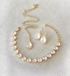 Set: Swarovski Ivory Cream Bracelet, Earrings, Necklace, crystal, tennis bracelet, bridal jewelry set, Neutral, bridesmaid gift, beige