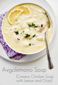 Avgolemono Soup (Chicken Soup with Egg and Lemon) Avgolemono Soup is a creamy, comforting soup with tender chicken, orzo pasta and a bright lemon flavor. Delicious and incredibly easy! Lemon Orzo Soup, Greek Lemon Chicken Soup, Creamy Chicken, Greek Lemon Rice Soup, Orzo Spinach, Creamy Pasta, Avgolemono Soup, Chicken Soup Recipes, Orzo Recipes