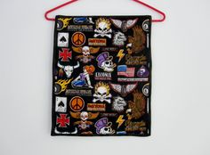 MOTORCYCLE WALL HANGING ,quilted , handmade, sleeve for hanging by QuiltingbyDiamanti on Etsy