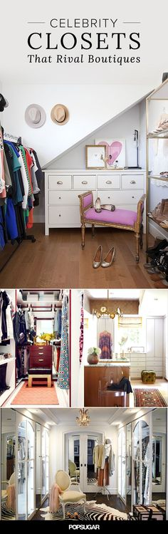 Here are our favorite celebrity closets. Some are just plain eye-candy, while others offer great inspiration for storage and organization. Christina Aguilera's shoe collection is INSANE!