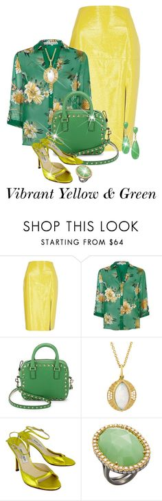"""""""Yellow & Green Contest"""" by shamrockclover on Polyvore featuring River Island, Alice + Olivia, Valentino, Jimmy Choo and Suneera"""