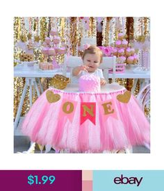 46f96bd55 Aytai High Chair Decoration Handmade Tulle Table Skirt Glitter Chair Skirt,  Baby Birthday Party Supplies Cute Baby Shower Decoration (Pink)Party  Supplies ...