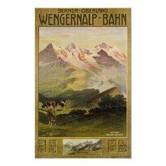 Berner Bernese Oberland die Schweiz Vintage Reise Poster