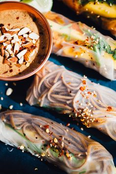 kimchi buckwheat soba summer rolls with almond butter dipping sauce ...