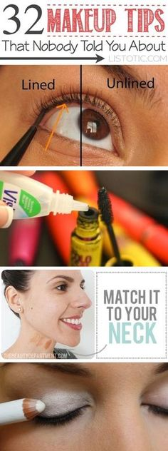 Makeup tips and tricks for beginners, teens and even experts! These beauty hacks and step-by-step tutorials are perfect for women of any age, older or younger. Easy ideas and life hacks every girl should know. :) Listotic.com