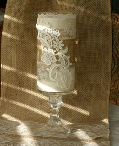 burlap and lace decorations