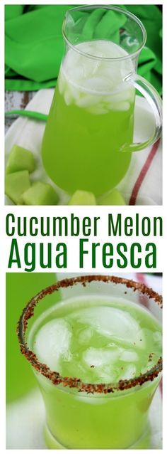 A naturally sweet change from water, this cucumber honeydew agua fresca is deliciously simple to make! A naturally sweet change from water, this cucumber honeydew agua fresca is deliciously simple to make! Mexican Drinks, Mexican Food Recipes, Healthy Detox, Healthy Drinks, Healthy Water, Easy Detox, Agua Fresca Recipe, Digestive Detox, Lemon Diet
