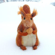 BinneBear  toy - Red Squirrel - animal with cherry - gift for each - Made with love