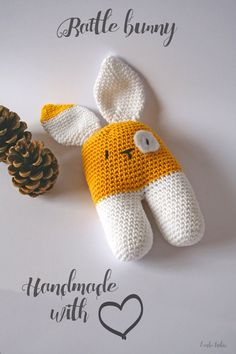 RESERVED for Timo. Pure cotton baby rattle bunny door larbotriki