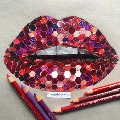 Glittery lips drawing  Photography by @vladamua  #lips #lipsdrawing #red #realistic