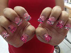 Flared White glitter&pink glitter powder, cheetah/zebra nail art | Yelp