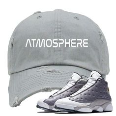 ebc8e58dd38abe This Distressed Dad Hat is custom design to perfectly match the Jordan 13  Atmosphere Grey colorway