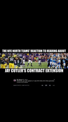 NFL North competitors react to Bears signing Jay Cutler for 7 years....