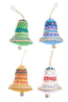Homemade Christmas Ornament Felt Bells Isolated White Background Royalty Free Stock Photo