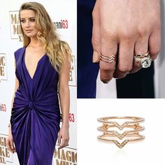 Gorgeous Amber Heard at last night's Los Angeles premier of Magic Mike XXL wearing an EFC diamond triple mini chevron ring right next to that stunning engagement ring! Xo, EF