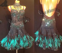 U4666-Feather-fur-Ballroom-women-rumba-Latin-salsa-samba-dance-dress-US-4