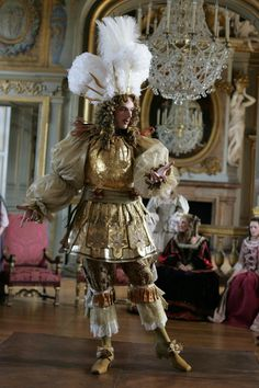 "INTERESTING ⚜️ ~ Samuel Theis as Louis XIV in the docudrama ""Versailles: The Dream of a King"". The King's love of dancing leads to his inventing the very beginning of BALLET ; he came up with the 'positions'."