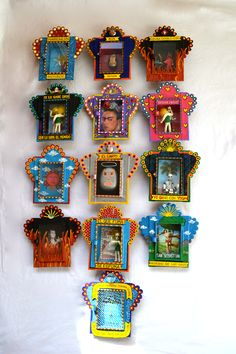 Mexican nichos...you can buy and psint or make from match boxes and cardboard. Forr outside dec orations