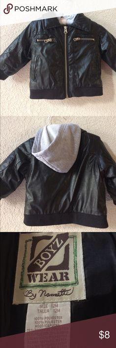 Nannette Black winter Jacket Faux leather biker look jacket for baby. Soft grey hood to keep his ears warm. Nannette Jackets & Coats