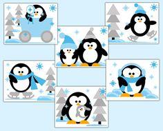 Penguin Nursery Print Wall Art Baby Boy Arctic Zoo Animals Winter Wonderland  #Handmade