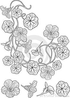 Nasturtium flower art nouveau style tattoo by Jelena Selivanova, via Dreamstime