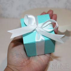 Favors - Light Teal and White Medium Box Favors for Any Event - 10 Boxes - Assembly Required - Designer Inspired - Wedding, Bridal Shower