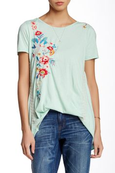 Minty Embroidered Tee