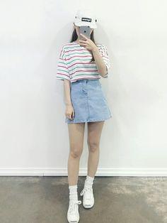 asian fashion Korean Daily Fashion- Popular T-shirts for this summer 2016 . K Fashion, Ulzzang Fashion, Korea Fashion, Asian Fashion, Daily Fashion, Fashion Outfits, Fashion Design, Fashion Ideas, Korean Street Fashion Summer