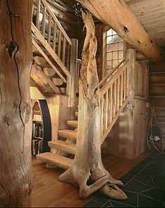 33 Trendy Ideas For Tree House Interior Kids Stairs Wooden Staircase Design, Wooden Staircases, Wood Stairs, Stairways, Timber Staircase, Interior Staircase, Basement Stairs, Tree House Interior, Log Cabin Homes