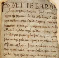 Beowulf by anonymous. Original manuscript saved from  fire. Now in the British Museum Library.