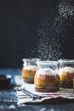 Maple Chestnut Pudding Chomeurs {gluten-free} – The Bojon Gourmet Mini Desserts, Delicious Desserts, Dessert Recipes, Plated Desserts, Christmas Food Photography, Dark Food Photography, Photography Photos, Pudding Chomeur, Pudding Cake