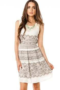 Sophisticated - ShopSosie Style : Lace Print Dress